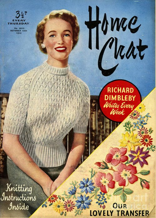 Jumpers Greeting Card featuring the drawing 1950s Uk Home Chat Magazine Cover by The Advertising Archives