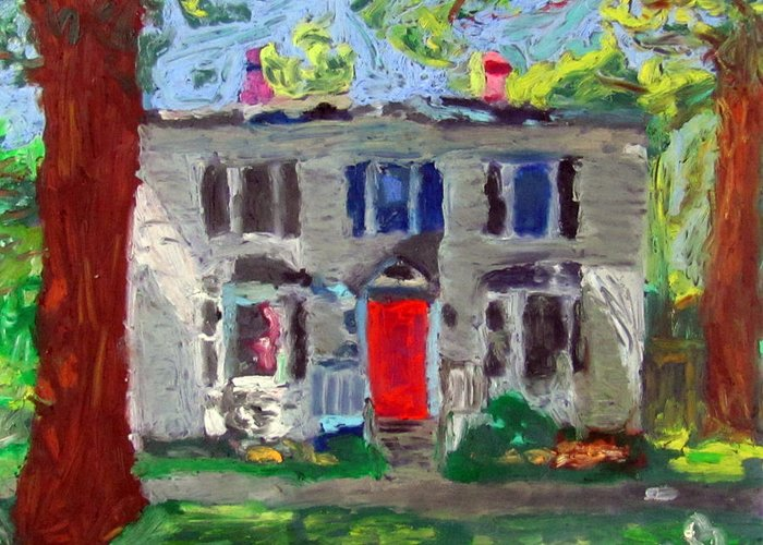 Bar Harbor Greeting Card featuring the painting 22 Atlantic Ave by Greg Mason Burns