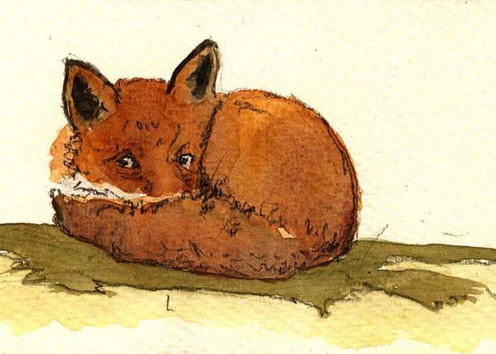 Red Greeting Card featuring the painting Red Fox 22 by Juan Bosco