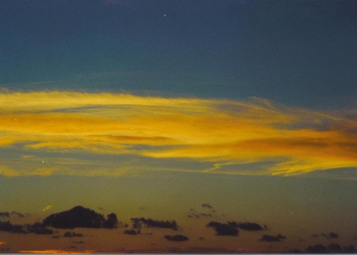 Gold Cloud Floats Across Blue Sky Greeting Card featuring the photograph Sky Scape by Robert Floyd