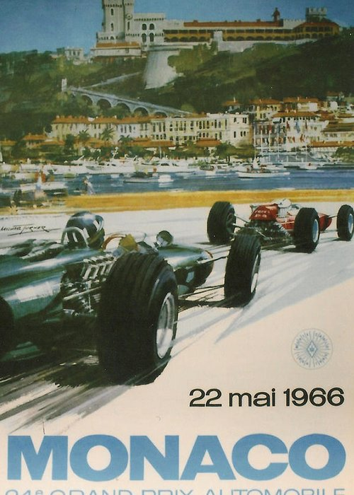 Monaco Grand Prix Greeting Card featuring the digital art 24th Monaco Grand Prix 1966 by Georgia Fowler