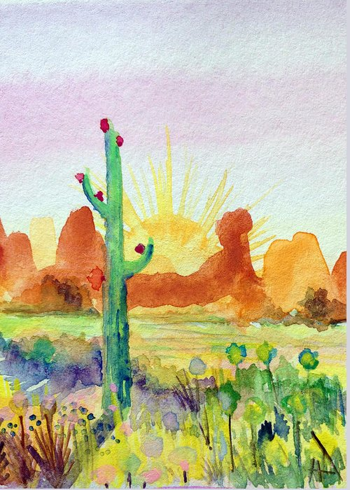 Saguaros Greeting Card featuring the painting Southwestern Landscape by Patricia Lazaro