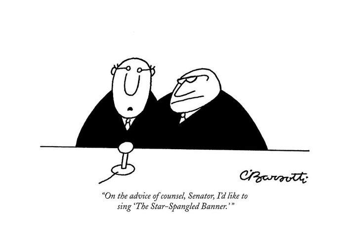 Counsel Greeting Card featuring the drawing On The Advice Of Counsel by Charles Barsotti