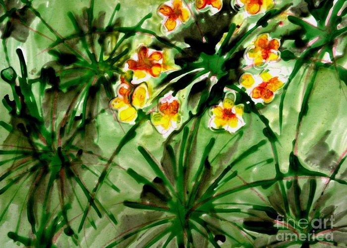 Floral Greeting Card featuring the painting Zenmoksha Flowers by Baljit Chadha