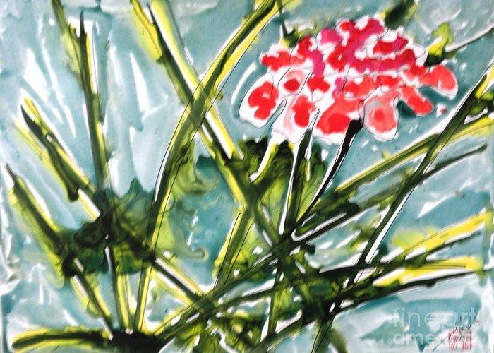 Flowers Greeting Card featuring the painting Zenmoksha Flowers by Baljit Chadha