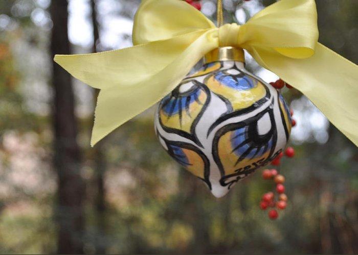 Ornament Greeting Card featuring the ceramic art Majolica Maiolica Ornament by Amanda Sanford