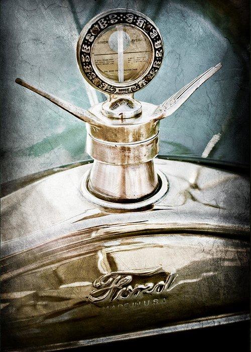 1923 Ford Model T Hood Ornament Greeting Card featuring the photograph 1923 Ford Model T Hood Ornament by Jill Reger