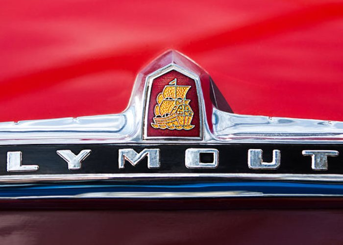 1949 Plymouth P-18 Special Deluxe Convertible Emblem Greeting Card featuring the photograph 1949 Plymouth P-18 Special Deluxe Convertible Emblem by Jill Reger