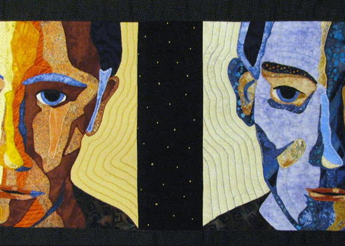 Art Quilts Tapestries - Textiles Greeting Card featuring the tapestry - textile Alternate Universe by Lynda K Boardman