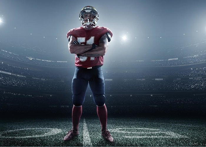 Soccer Uniform Greeting Card featuring the photograph American Football In Action by Dmytro Aksonov