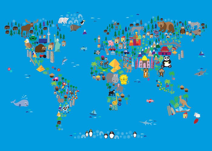 Map Of The World Greeting Card featuring the digital art Animal Map Of The World For Children And Kids by Michael Tompsett