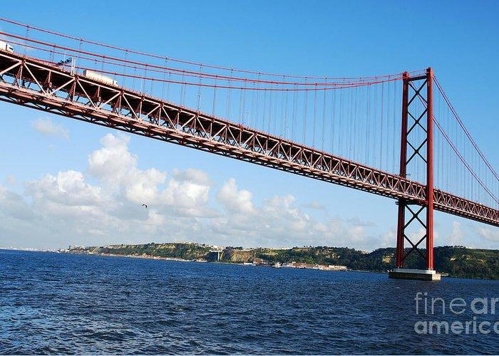 Bridge Greeting Card featuring the photograph April Bridge In Lisbon by Luis Alvarenga