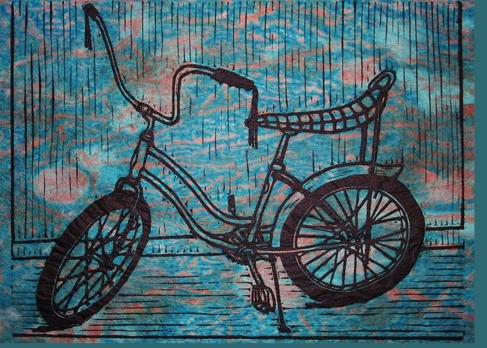 Bike Greeting Card featuring the drawing Banana Seat by William Cauthern