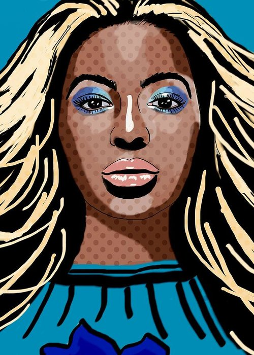 Beyonce Greeting Card featuring the painting Beyonce by Bogdan Floridana Oana