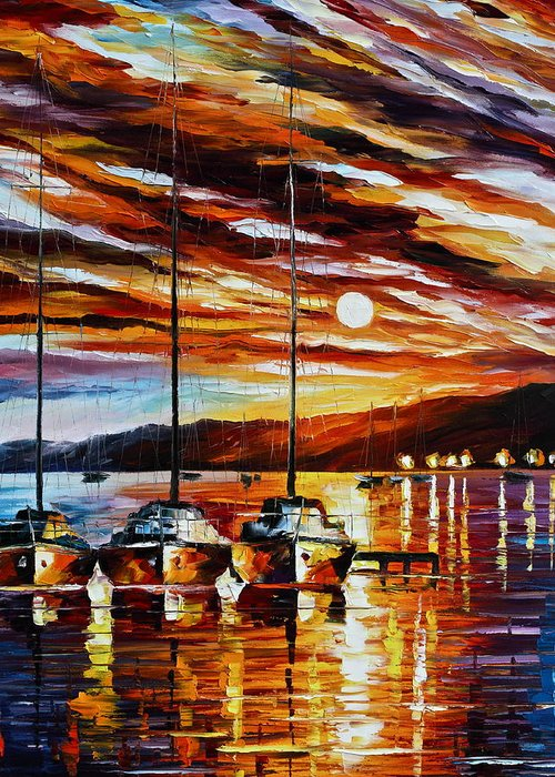 Sea Greeting Card featuring the painting 3 Borthers by Leonid Afremov
