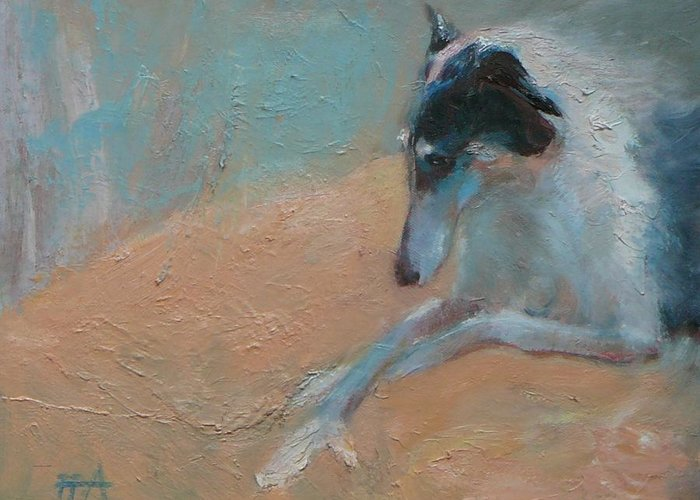 Animal Greeting Card featuring the painting SOLD Borzoi Waiting for Dusk by Irena Jablonski