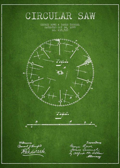 Saw Greeting Card featuring the drawing Circular Saw Patent Drawing From 1899 by Aged Pixel