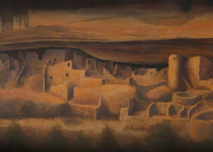 Mesa Verde Greeting Card featuring the painting Cliff Palace by Jerry McElroy