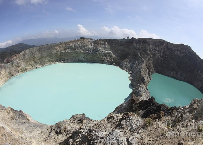 Horizontal Greeting Card featuring the photograph Colourful Crater Lakes Of Kelimutu by Richard Roscoe