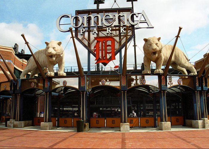 America Greeting Card featuring the photograph Comerica Park - Detroit Tigers by Frank Romeo