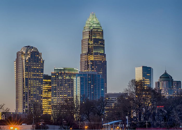 Early Greeting Card featuring the photograph Early Morning In Charlotte Nc by Alex Grichenko