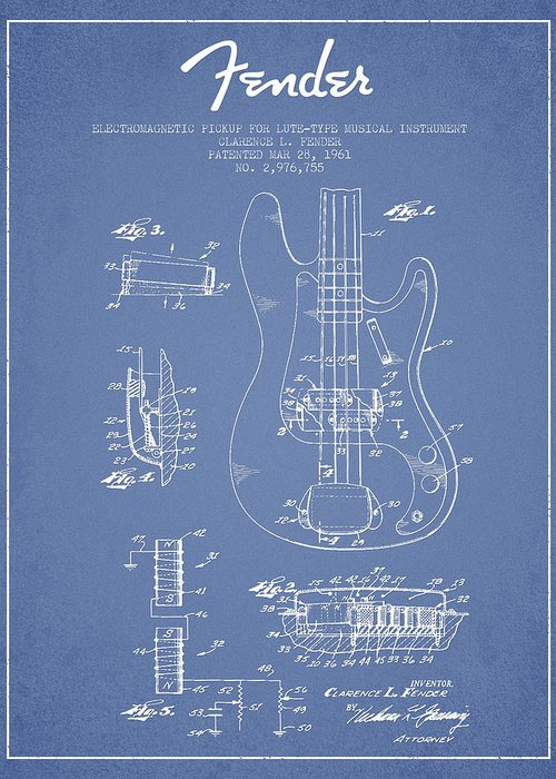 Fender Greeting Card featuring the digital art Fender Guitar Patent Drawing From 1961 by Aged Pixel