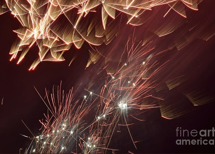 Horizontal Greeting Card featuring the photograph Fireworks On Bastille Day by Sami Sarkis
