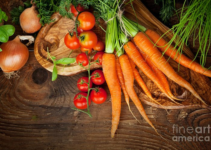 Crop Greeting Card featuring the photograph Fresh Vegetables by Mythja Photography
