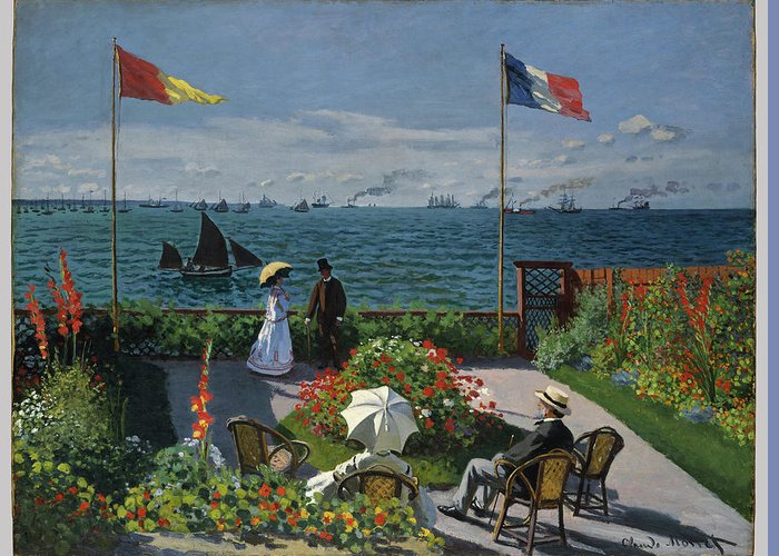 Claude Monet Greeting Card featuring the painting Garden At Sainte-adresse by Claude Monet