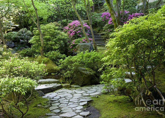 Japanese Garden Greeting Card featuring the photograph Garden Path by Brian Jannsen