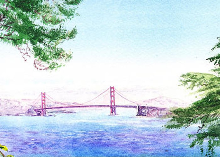 Golden Gate Greeting Card featuring the painting Golden Gate Bridge San Francisco by Irina Sztukowski