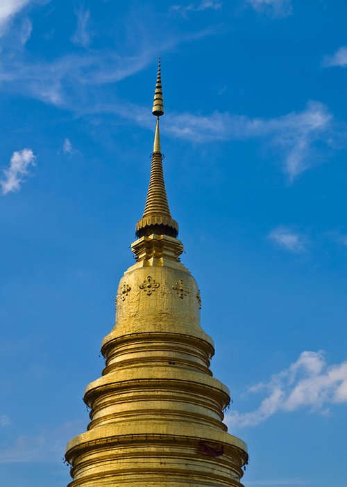 Lamphun Greeting Card featuring the photograph Golden Pagoda With Blue Sky At Wat Phra That Hariphunchai by Ammar Mas-oo-di