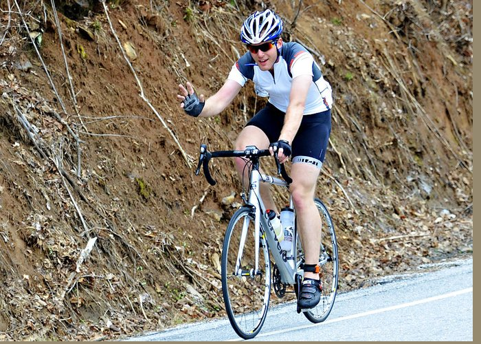 Sport; Ride; Recreation; Person; Miles; Man; Lifestyle; Leisure; Hobby; Healthy; Happy; Fundraiser; Fun; Event; Endurance; Cyclist; Century; Bike; Bicycle; Active; Action; 100; Mountains; Challenge; Terrain; Curves; Road; Endurance Greeting Card featuring the photograph Gran Fondo by Susan Leggett