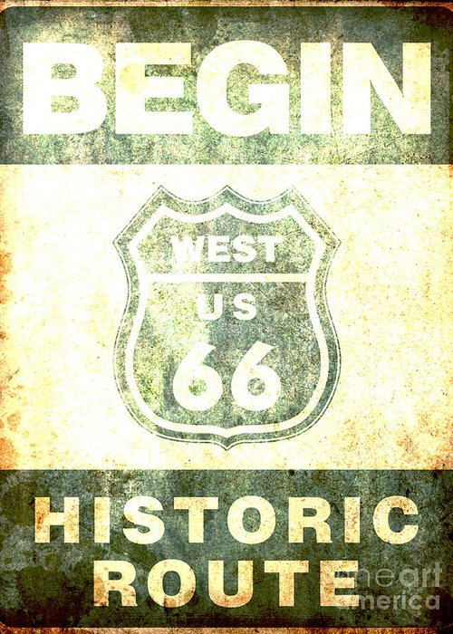 America Greeting Card featuring the digital art Historical Route 66 Sign Poster by Indian Summer