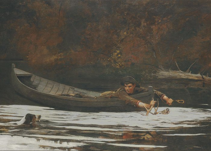 Deer; Canoe; River; Antlers; Hunting; Dog; Swimming Greeting Card featuring the painting Hound And Hunter by Winslow Homer