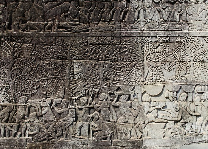 Khmer stone carvings angkor wat cambodia greeting card for sale by