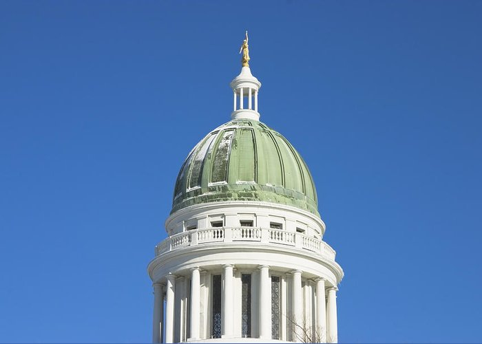 Maine Greeting Card featuring the photograph Maine State Capitol Building In Augusta by Keith Webber Jr