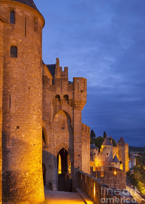 Architecture Greeting Card featuring the photograph Medieval Carcassonne by Brian Jannsen