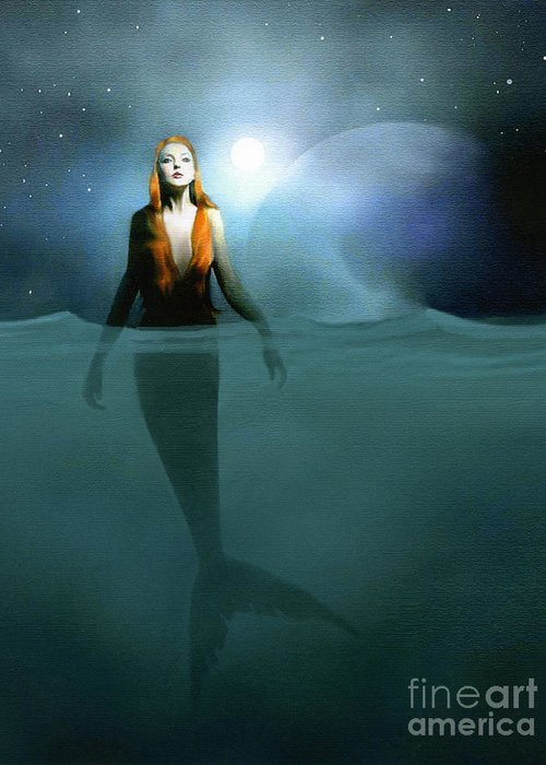 Landscapes Greeting Card featuring the painting Mermaid by Robert Foster