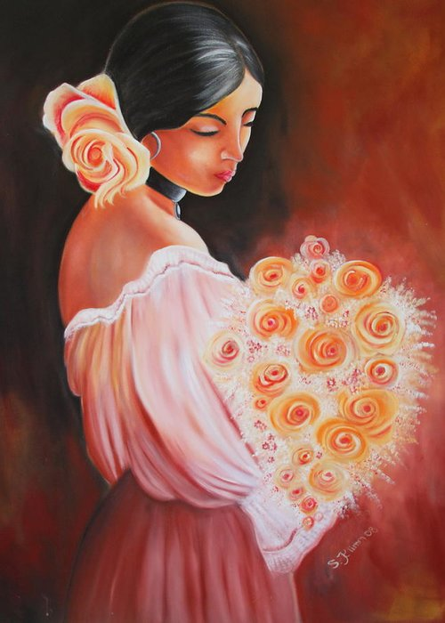 Mexican woman greeting card for sale by sabine klimm flower greeting card featuring the painting mexican woman by sabine klimm m4hsunfo