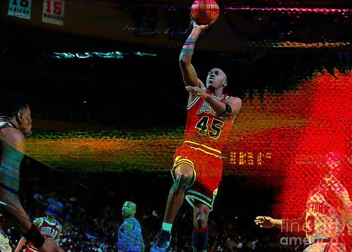 Michael Jordan Greeting Card featuring the mixed media Michael Jordon by Marvin Blaine