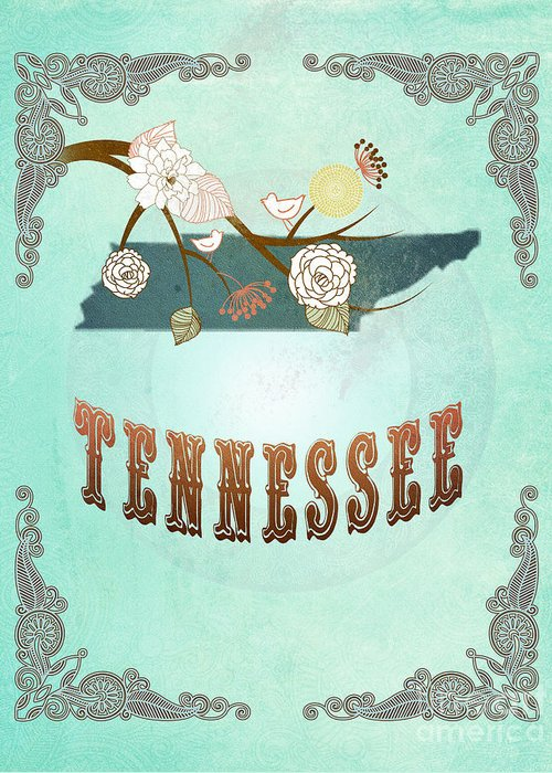Tennessee Greeting Card featuring the digital art Modern Vintage Tennessee State Map by Joy House Studio