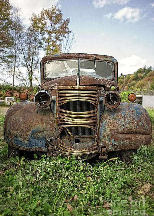Chevy Greeting Card featuring the photograph Old Junker Car by Edward Fielding