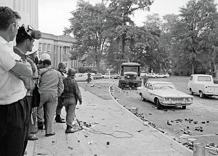 1962 Greeting Card featuring the photograph Ole Miss Riot, 1962 by Granger