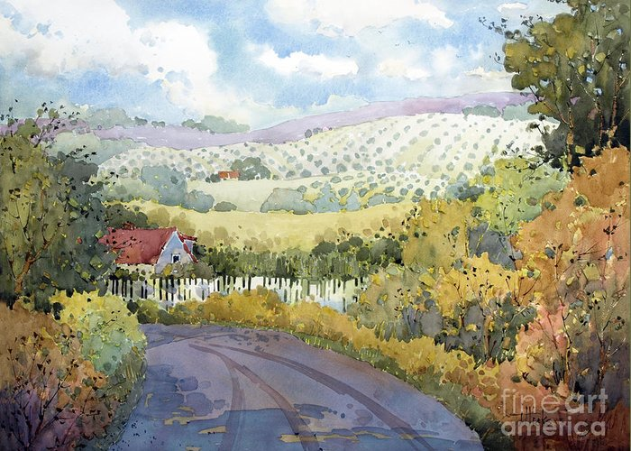 Vineyard Greeting Card featuring the painting Out Santa Rosa Creek Road by Joyce Hicks