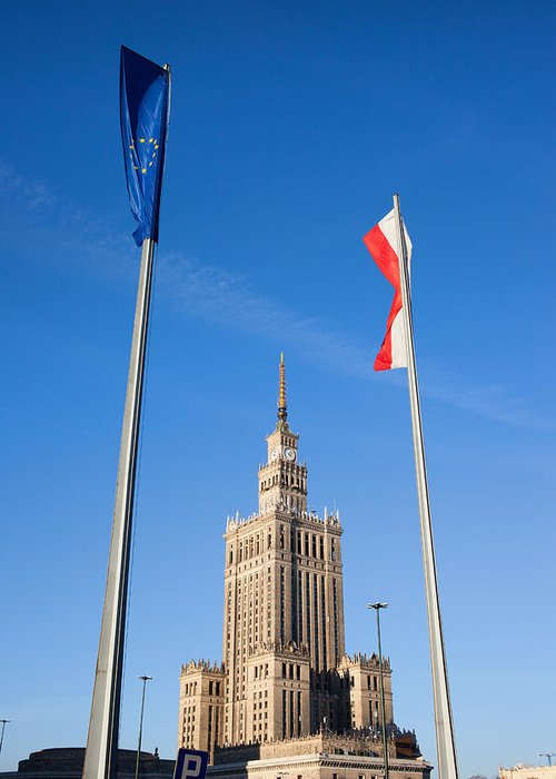 Warsaw Greeting Card featuring the photograph Palace Of Culture And Science In Warsaw by Artur Bogacki