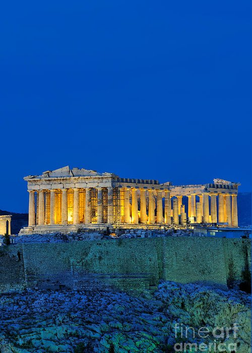 Acropolis; Acropoli; Akropoli; Akropolis; Parthenon; Monument; Athens; City; Capital; Attica; Attika; Attiki; Greece; Hellas; Greek; Hellenic; Europe; European; Temple; Ancient; Dusk; Twilight; Evening; Night; Lights; Holidays; Vacation; Travel; Trip; Voyage; Journey; Tourism; Touristic; Summer Greeting Card featuring the photograph Parthenon In Acropolis Of Athens During Dusk Time by George Atsametakis