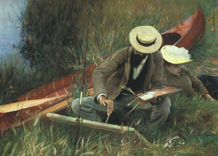 Paul Helleu Greeting Card featuring the painting Paul Helleu Sketching With His Wife by John Singer Sargent