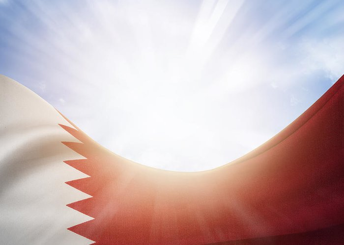 Flag Greeting Card featuring the photograph Qatar Flag by Les Cunliffe