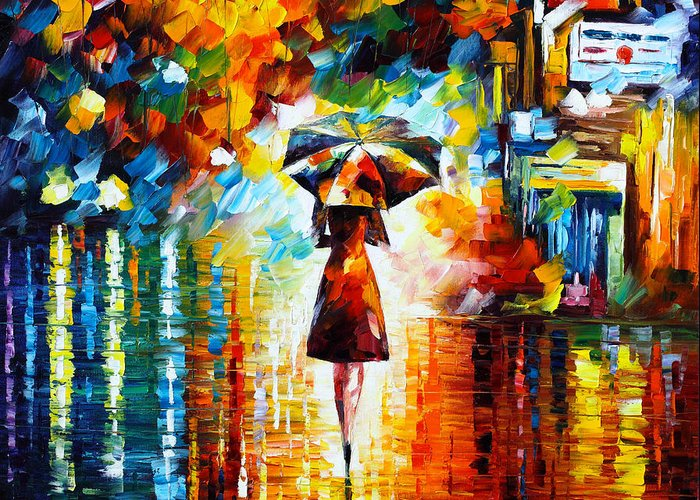 Rain Greeting Card featuring the painting Rain Princess by Leonid Afremov